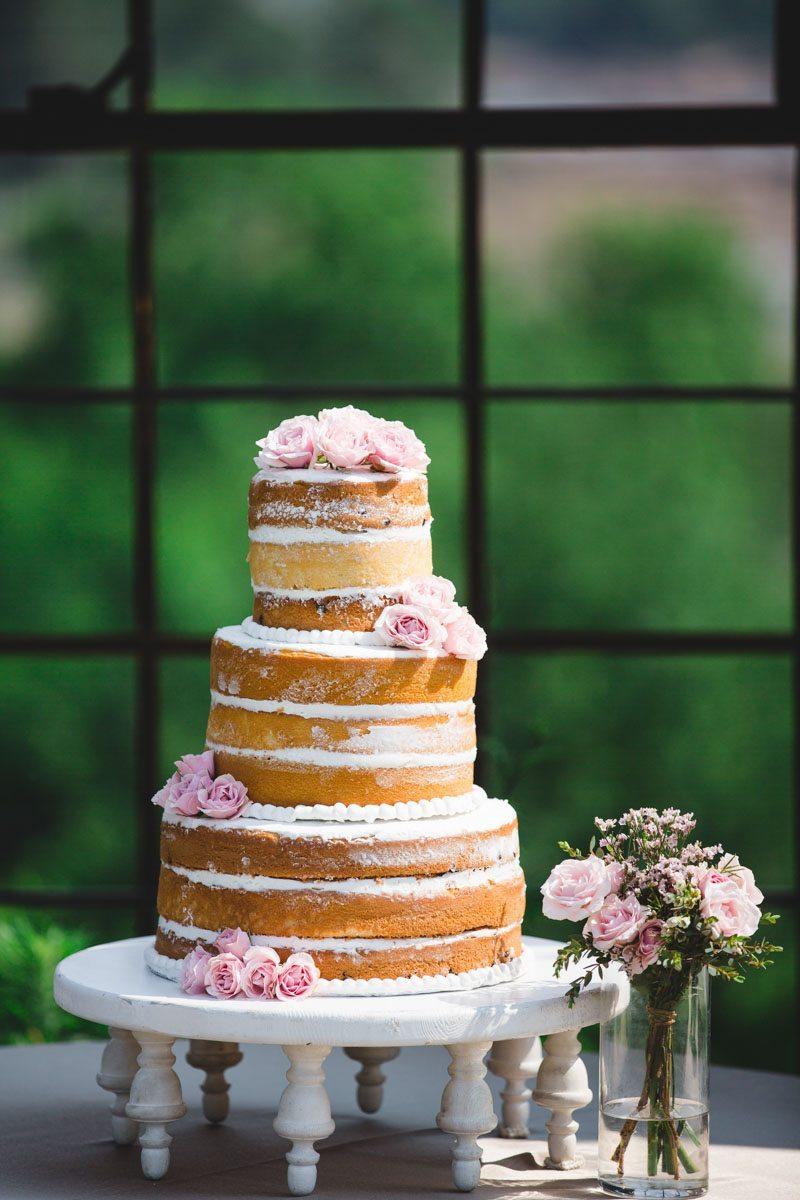 Naked cake pink rose adornment ErinStephan_375