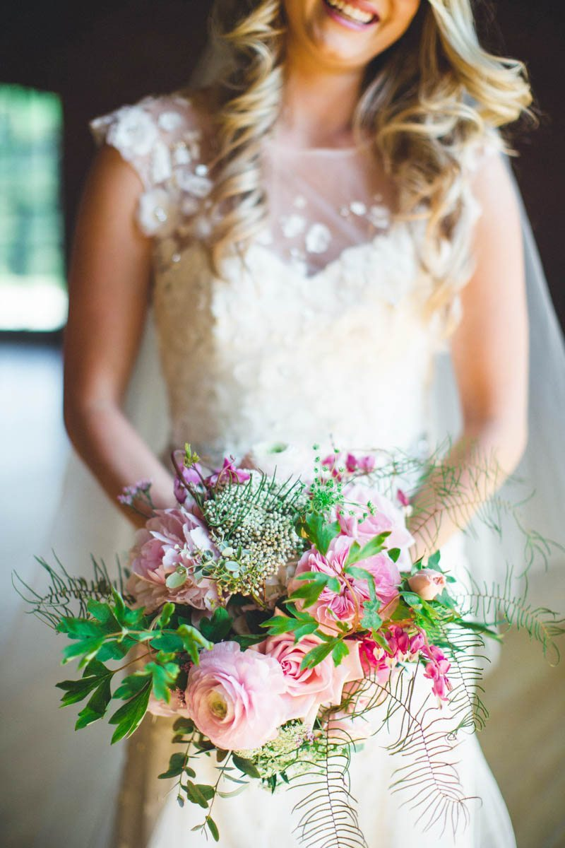 Pink and green peony bouquet close up ErinStephan_127
