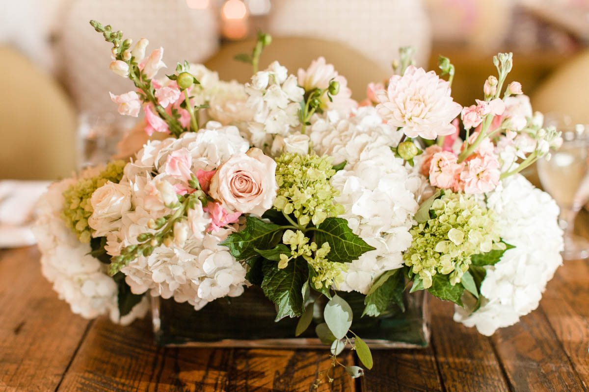 Pink rose white hydrangea floral centerpieces