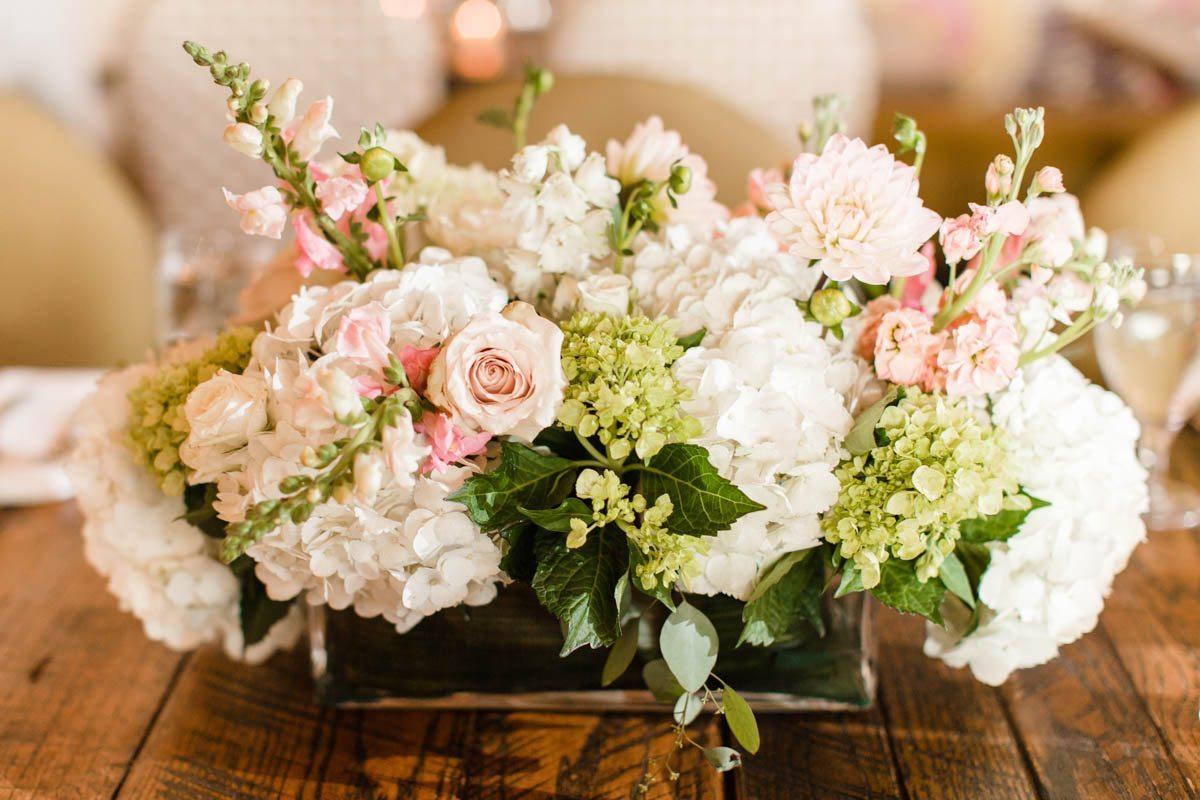 Pink rose white hydrangea floral centerpieces