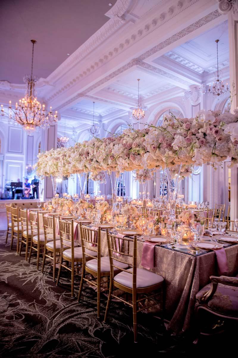 Reception ballroom longshot rose hydrangea tall center pieces Adrienne&Keith_Wedd_0794