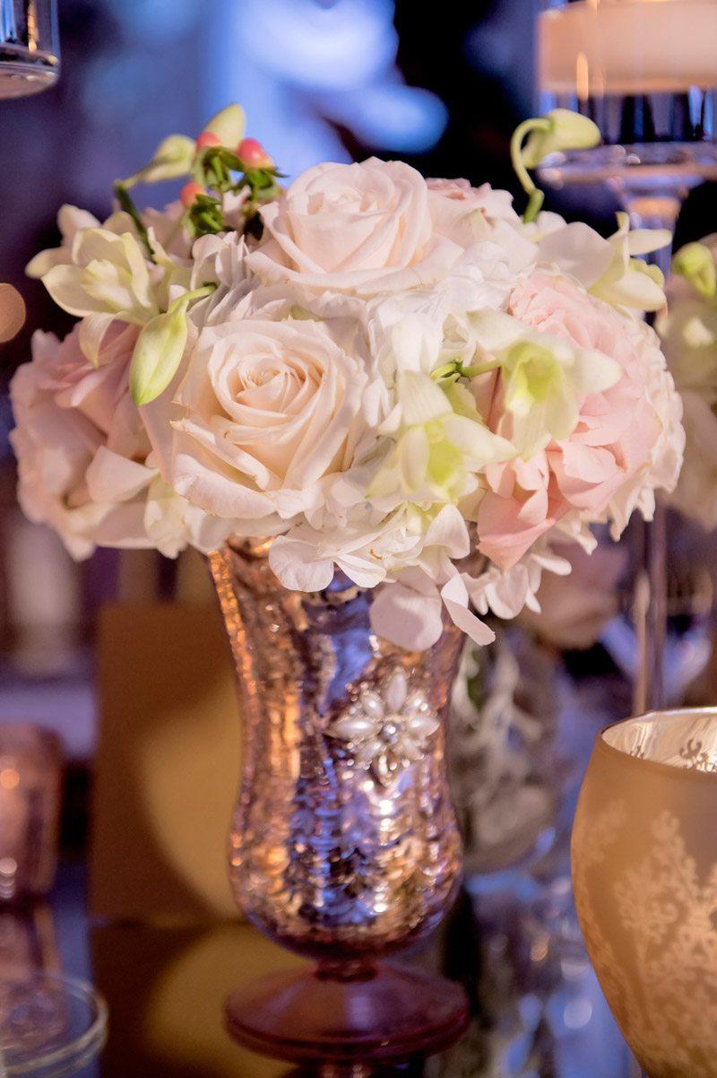 Rose detail shot table decor pink glitter vase Adrienne&Keith_Wedd_0797
