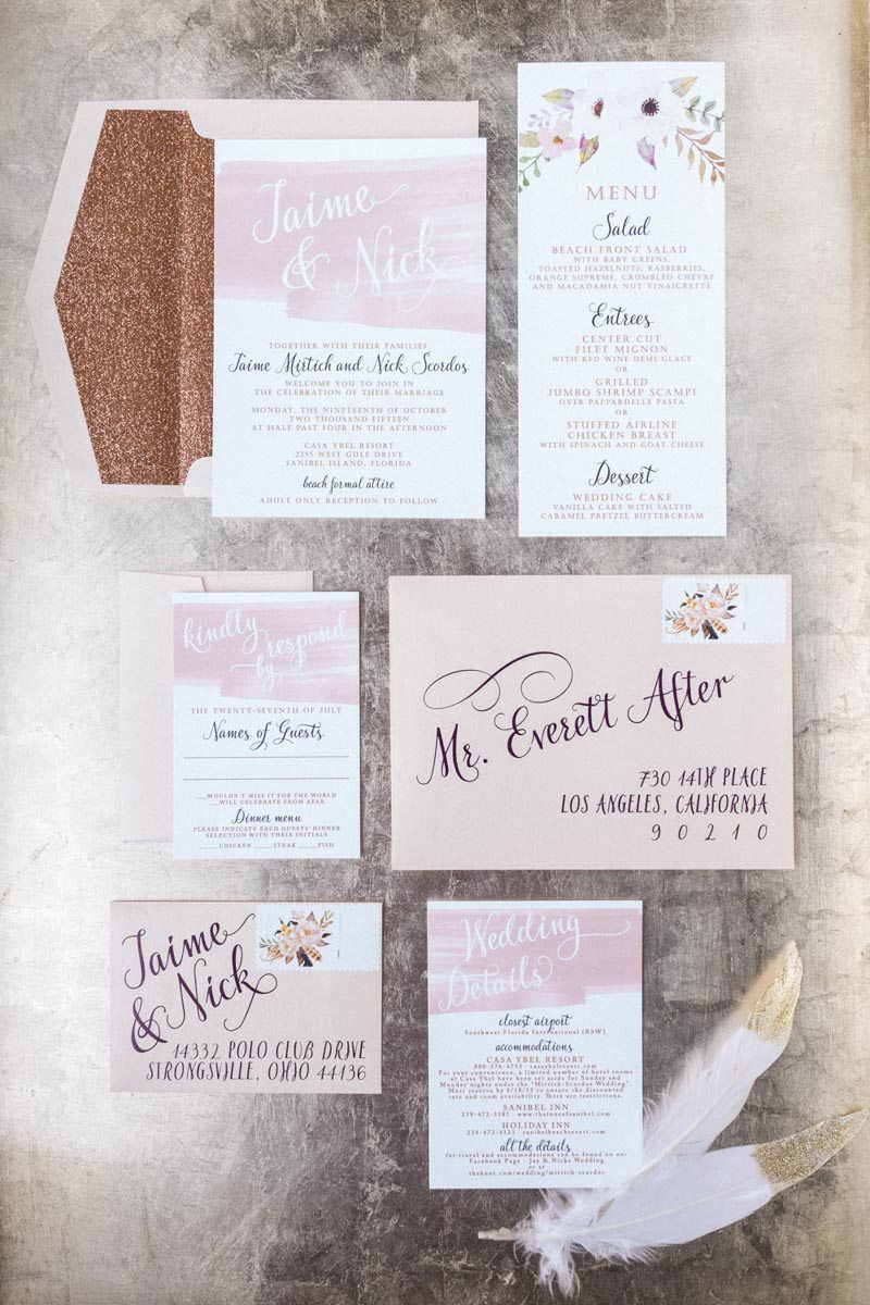 Sparkle pink invitations Mirtich_Scordos_Hunter_Ryan_Photo_sanibelislandcasaybelweddingphotographyhunterryanphoto4966