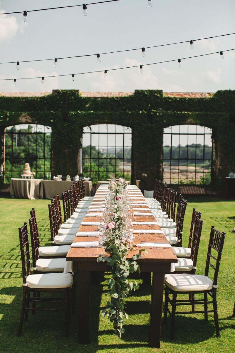 String light moss covered brick green table runner long banquet farm table ErinStephan_369