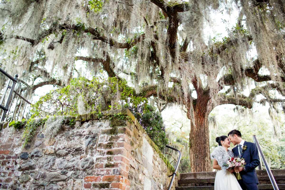 Under tree walking to reception jadematthew_savannah_vics_78