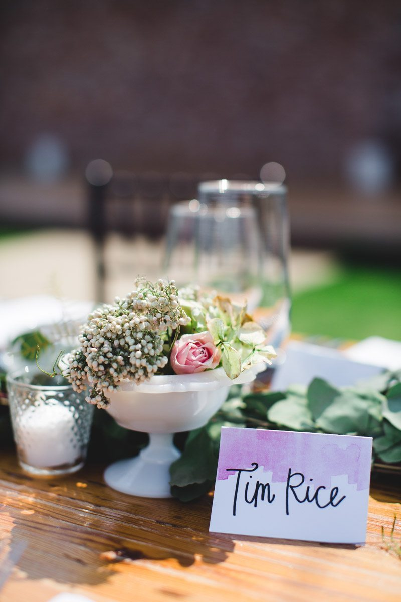 Watercolor table name white bown with rose and baby's breath ErinStephan_362