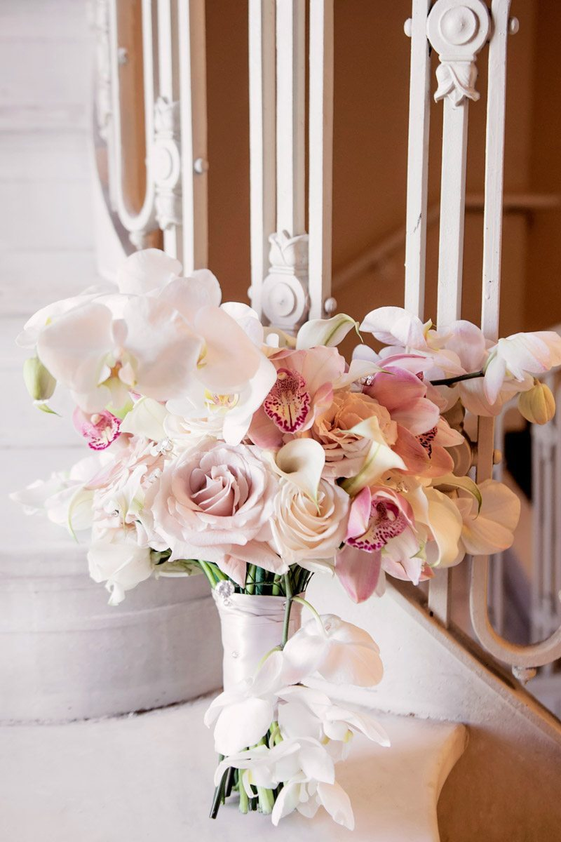 White and pink orchid bouquet close up Adrienne&Keith_Wedd_0209