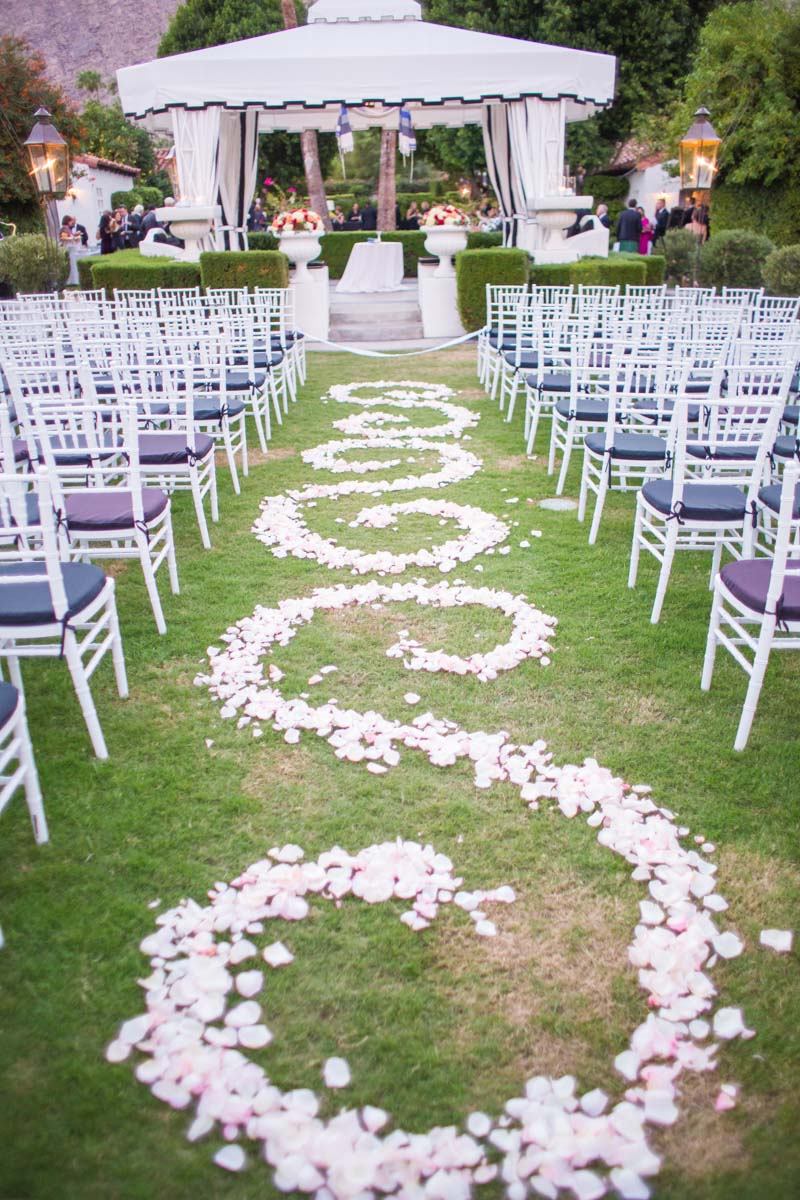 Aisle decor swirled flower petals