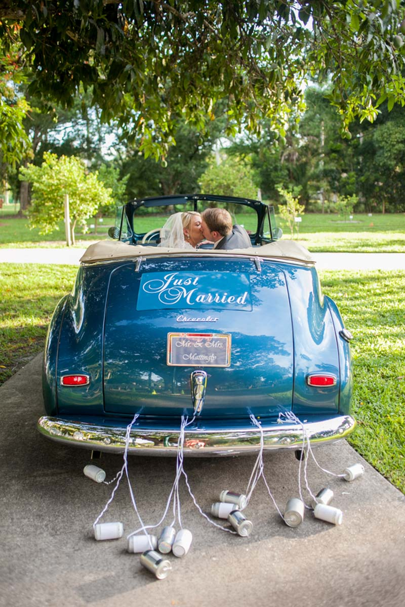 Blue Just Married Car