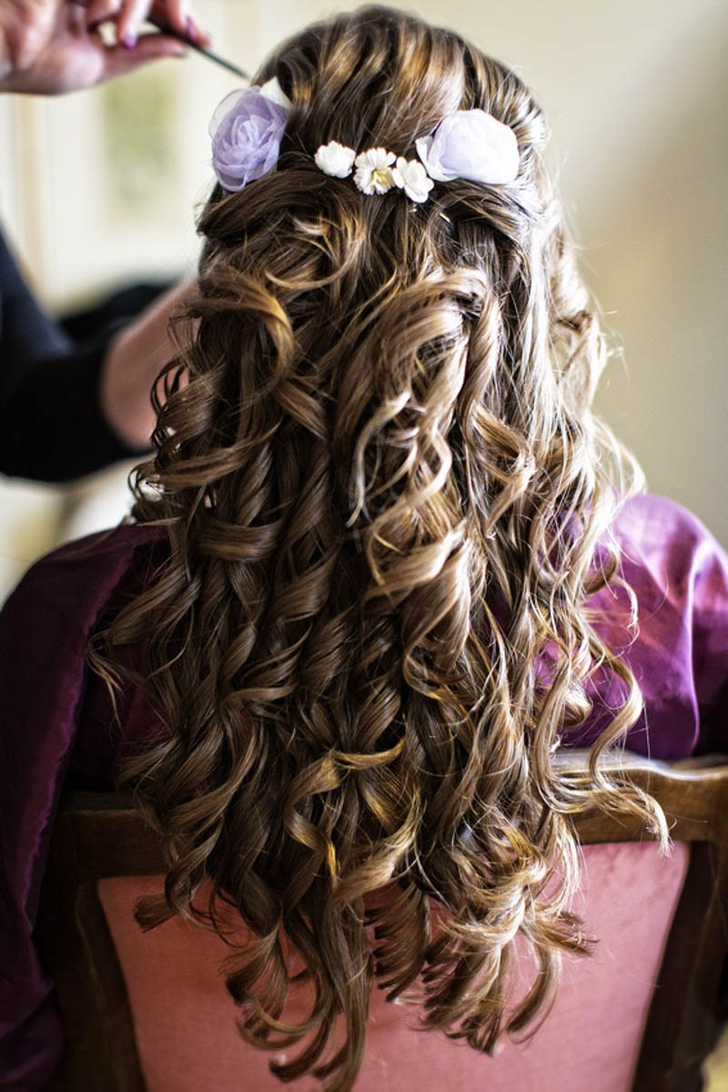 Bride Curls with Flowers