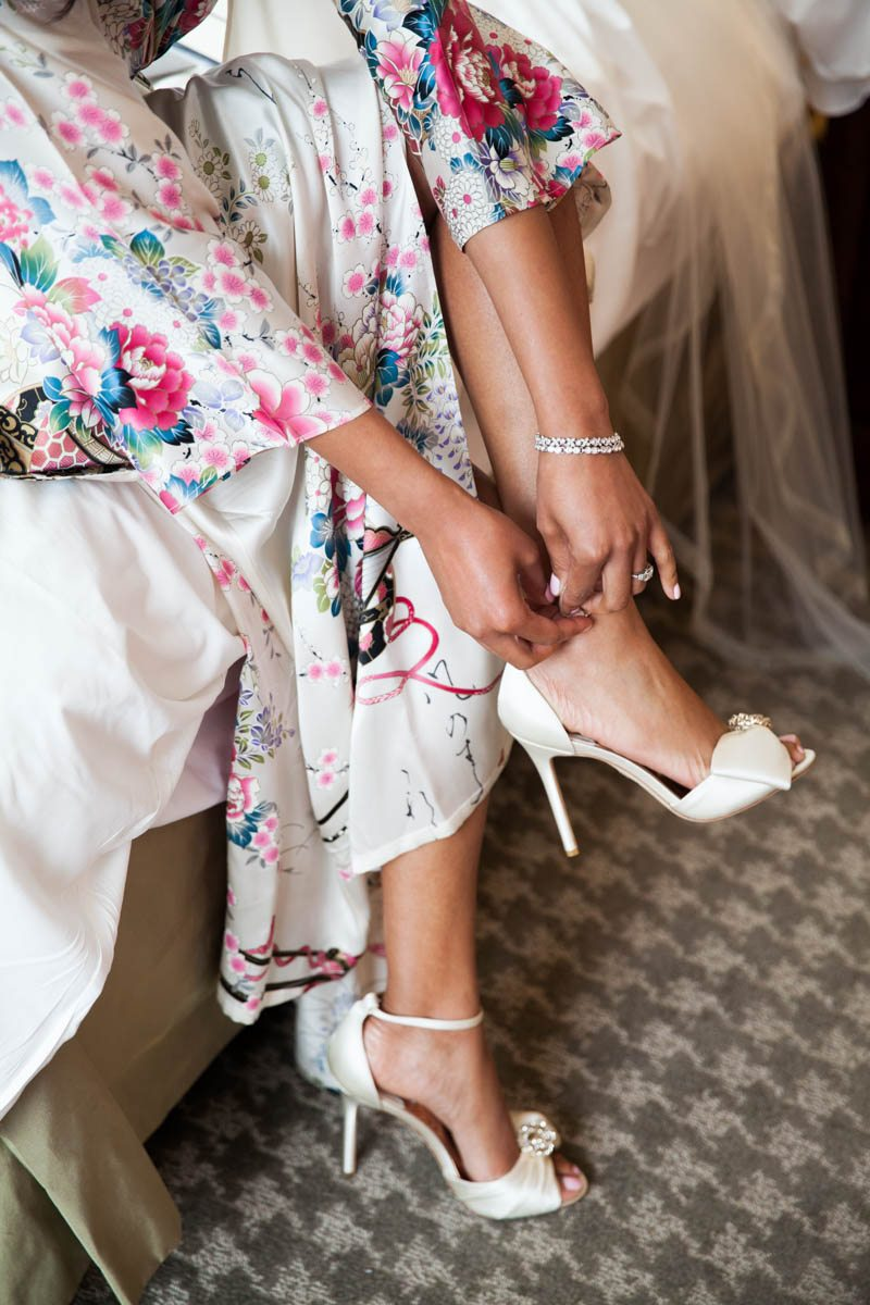 Bride Getting Ready White Heels