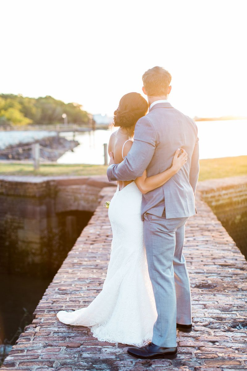 Bride and Groom Facing Water