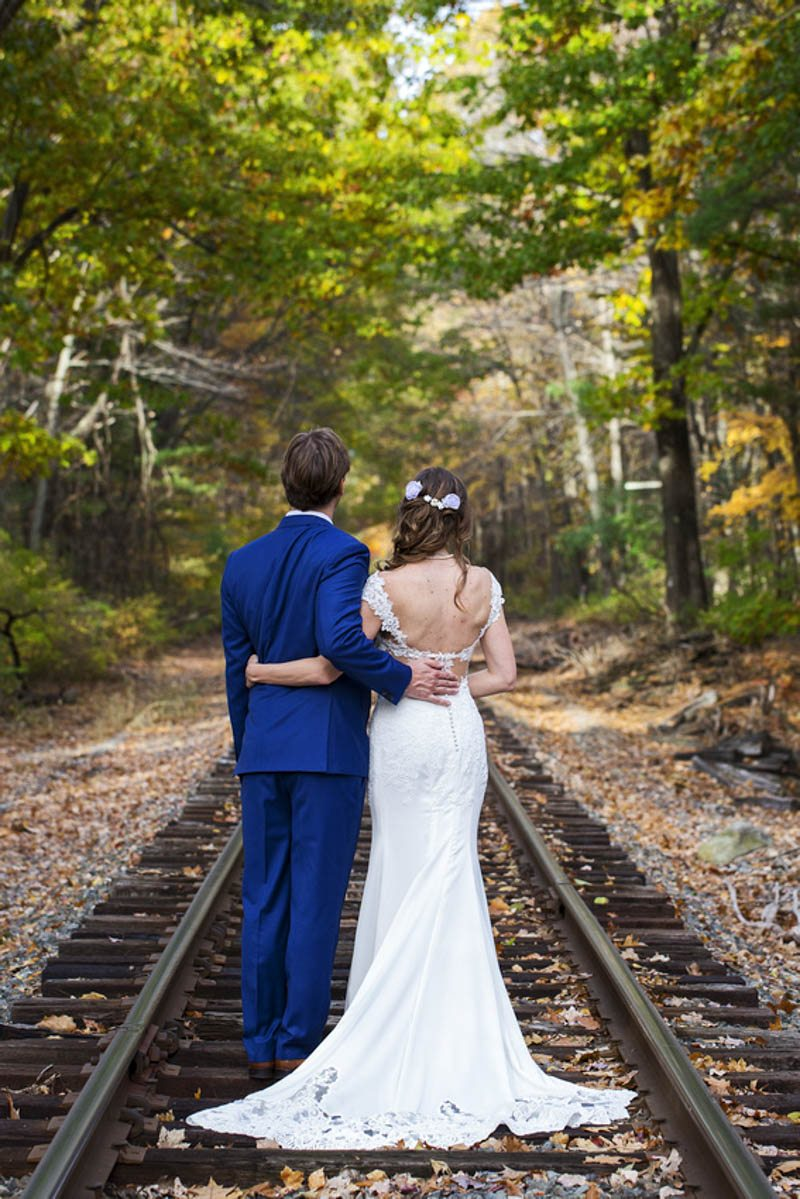 Bride and Groom on Railroad