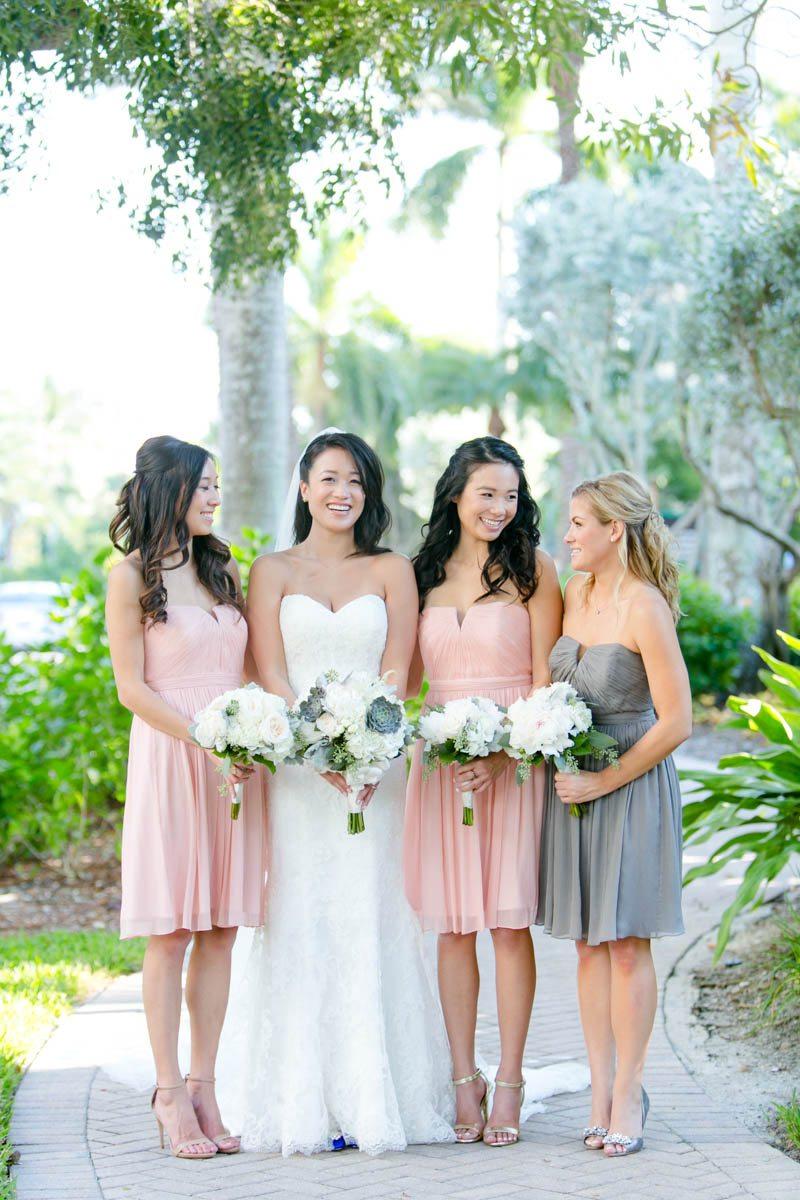 Bride and mismatched bridesmaids Tsou_Nealon_Set_Free_Photography_LaPlayaWeddingNaplesPhotographerFloridaSetFreePhotography1381