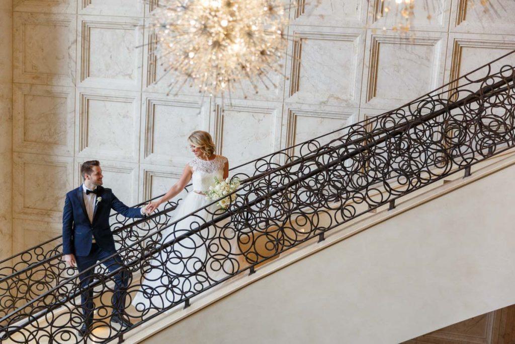 Bride groom stairs