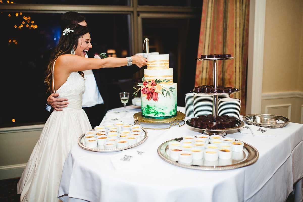 Cake cutting bride groom