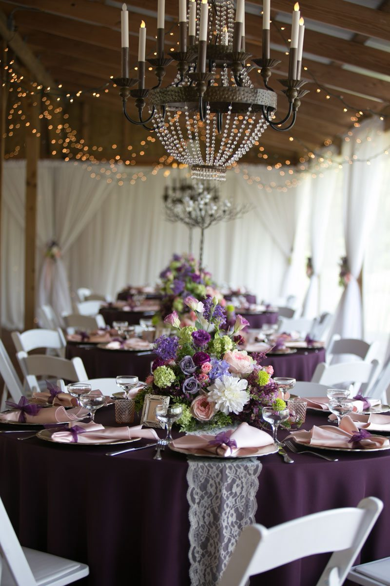 Chandelier close up and plum linen with lace table runner 4_1_16 Rocky and Evelyn Cross Creek Ranch Wedding 010