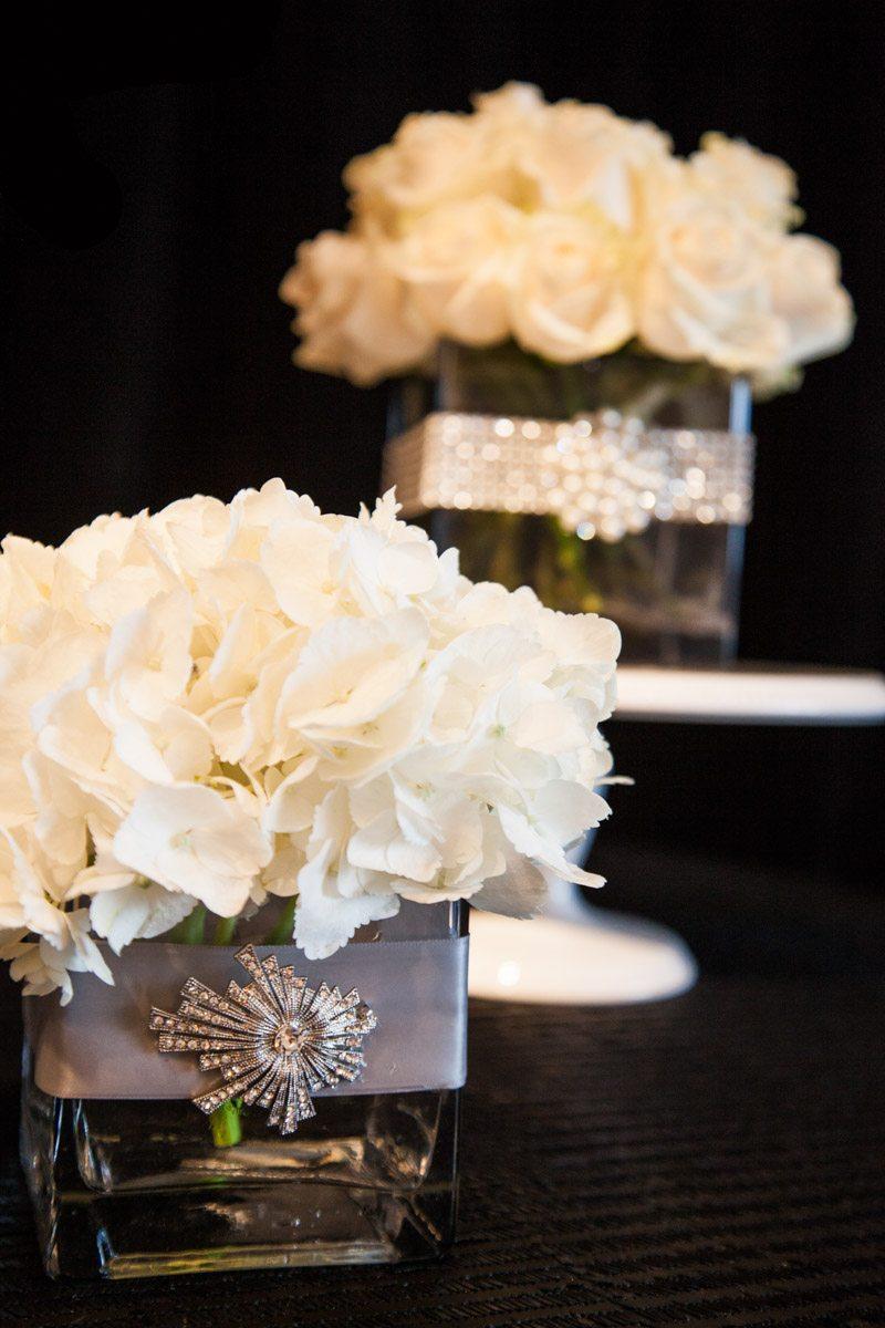 Close up of small hydrangea floral arraingment with jewled adornment ScoobieWestCo._INIJE-7