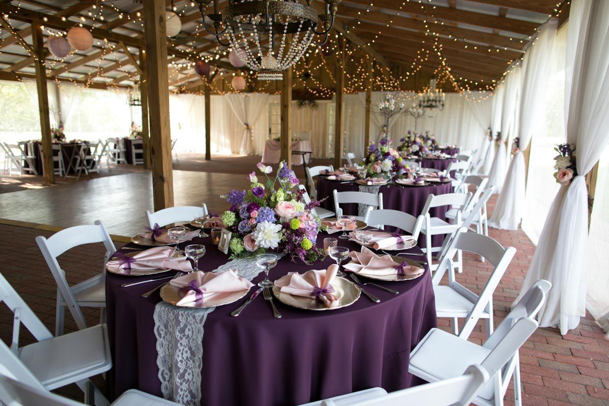 Cross Creek feature plum table linen 4_1_16 Rocky and Evelyn Cross Creek Ranch Wedding 064