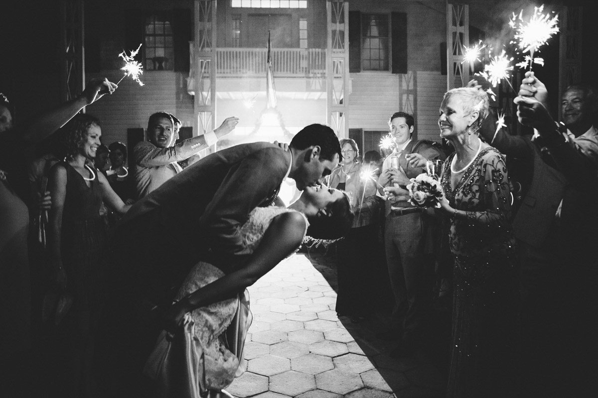 End of Reception Sparklers with Kiss