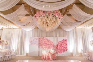 Floral ceiling installation, draped reception space_A Good Affair Wedding & Event Production - Jessica Claire 2