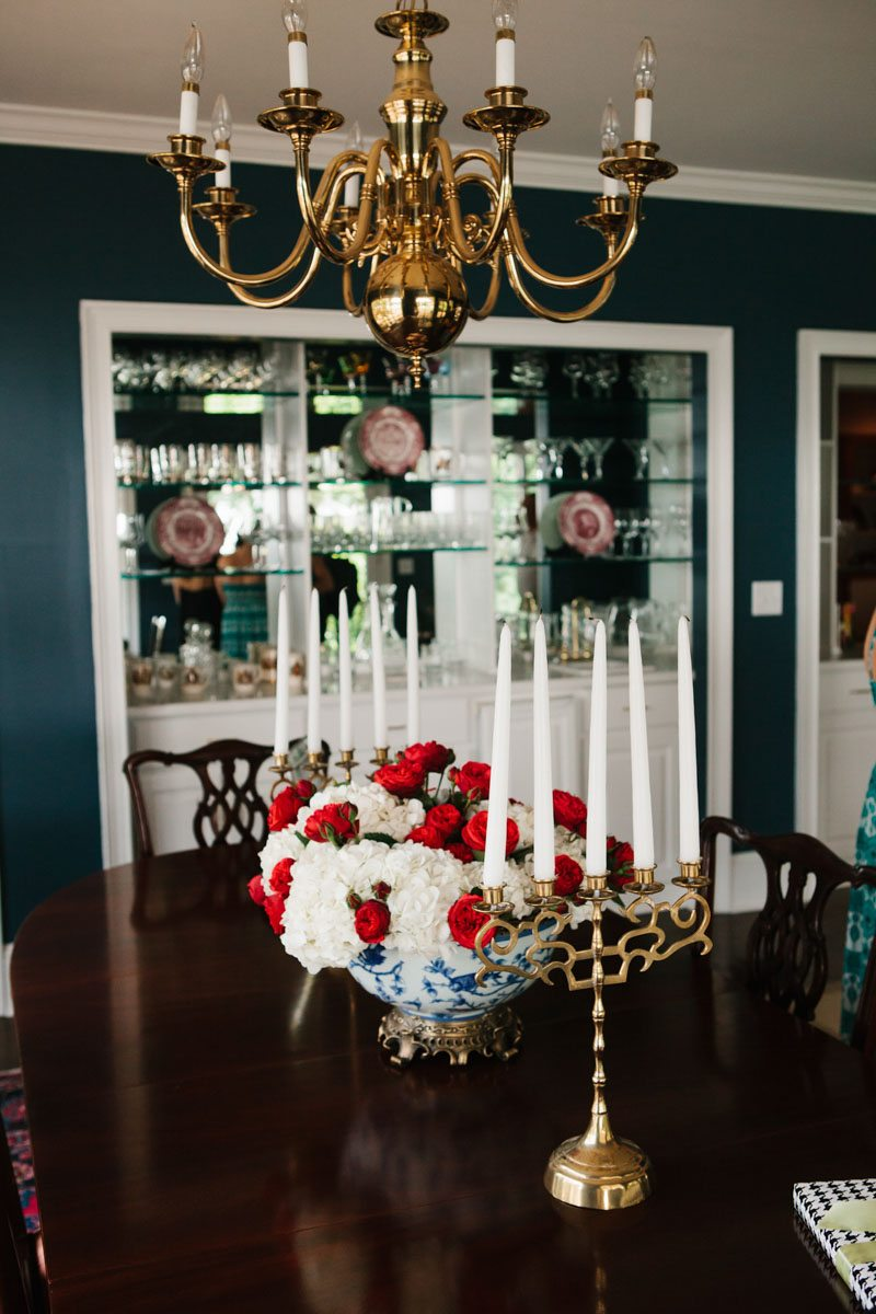 Flower and Candle Centerpieces with Chandelier