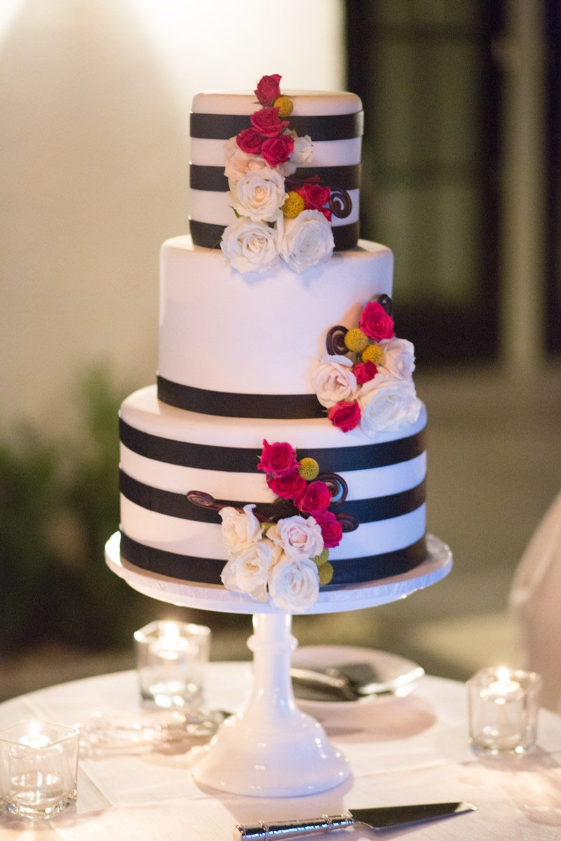 Fun striped wedding cake