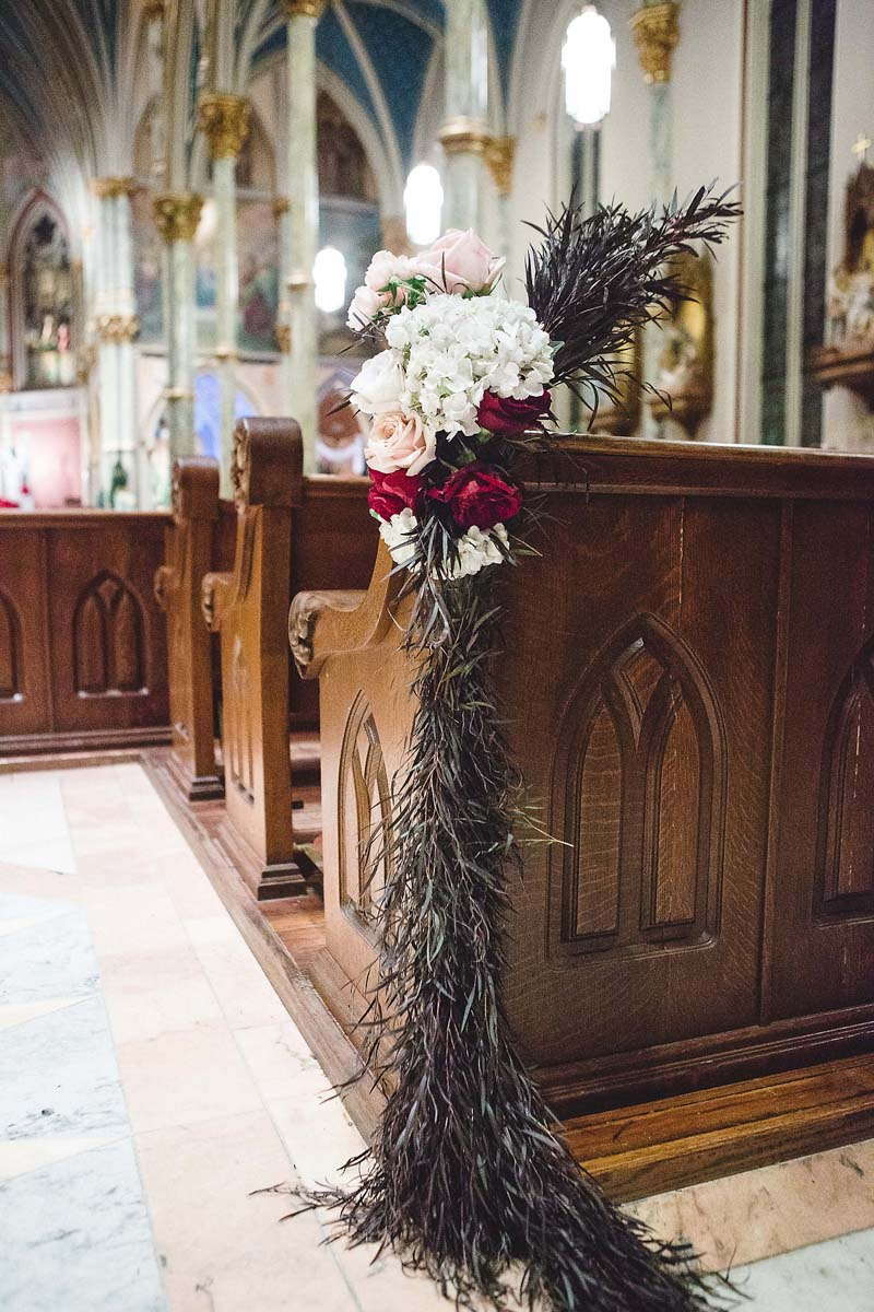 Garland on pew