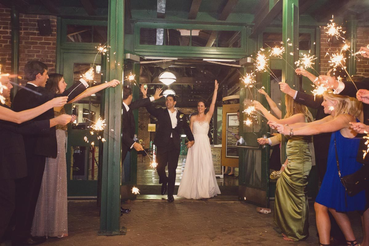 Grand exit with sparklers - Adam for W.Scott Chester