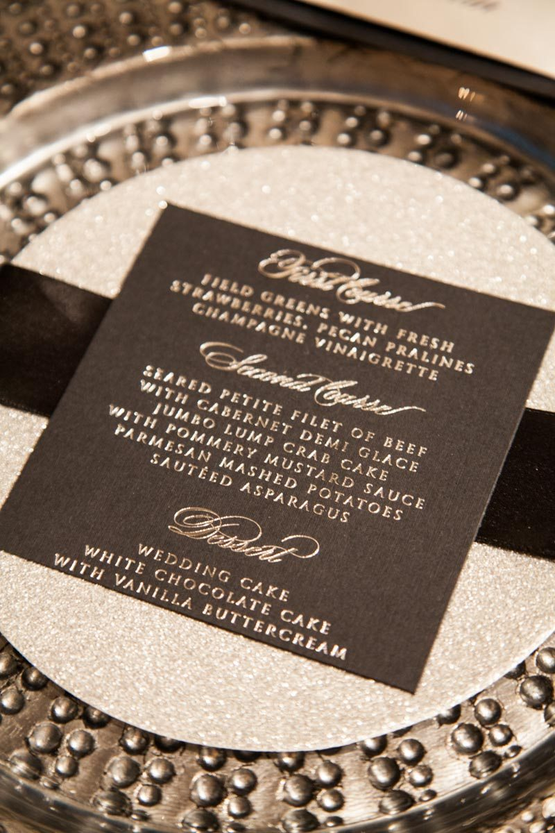Gray menu card on plate charger ScoobieWestCo._INIJE-28