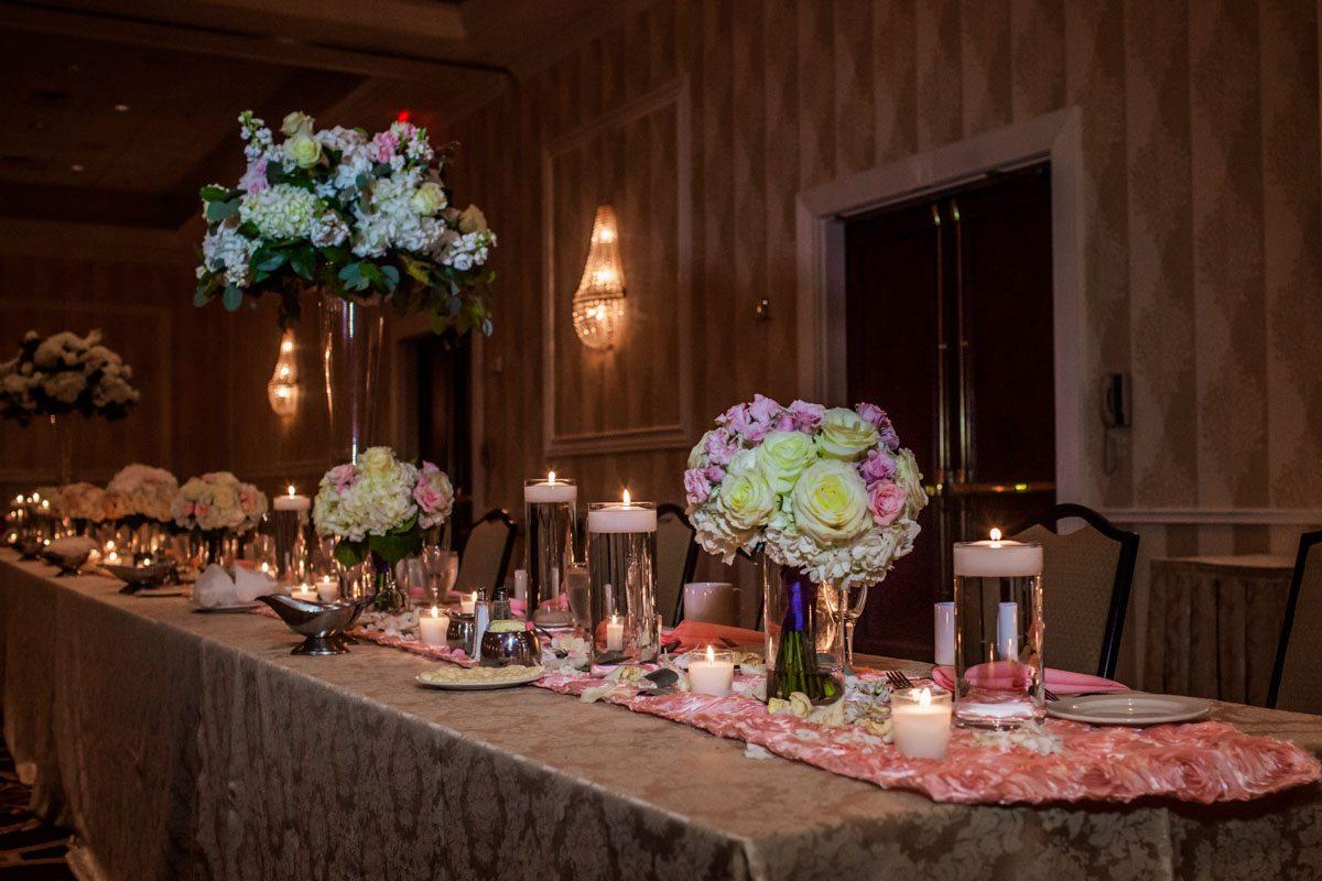 _Head table set up with hydrangea centerpieces Herndon_Herndon_Sharon_Theresa_Wheaton_20150627sharontheresawheaton1060