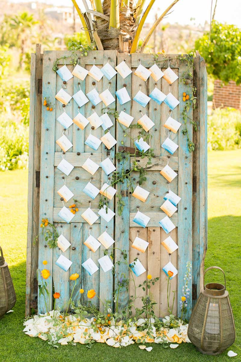 Ombre watercolor escort card display_Amy Abbott Events - Ana & Jerome Photography