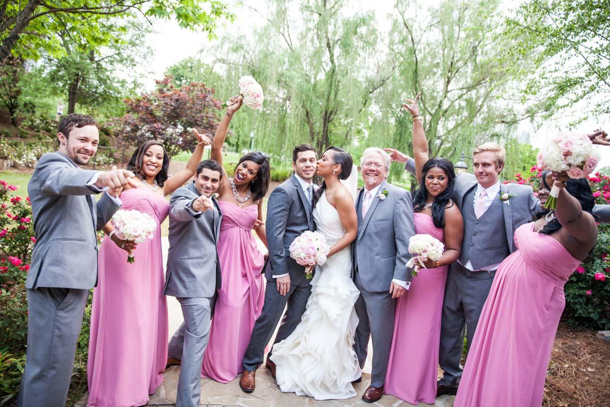 Pink Bridesmaids Grey Groomsmen Silly Pose