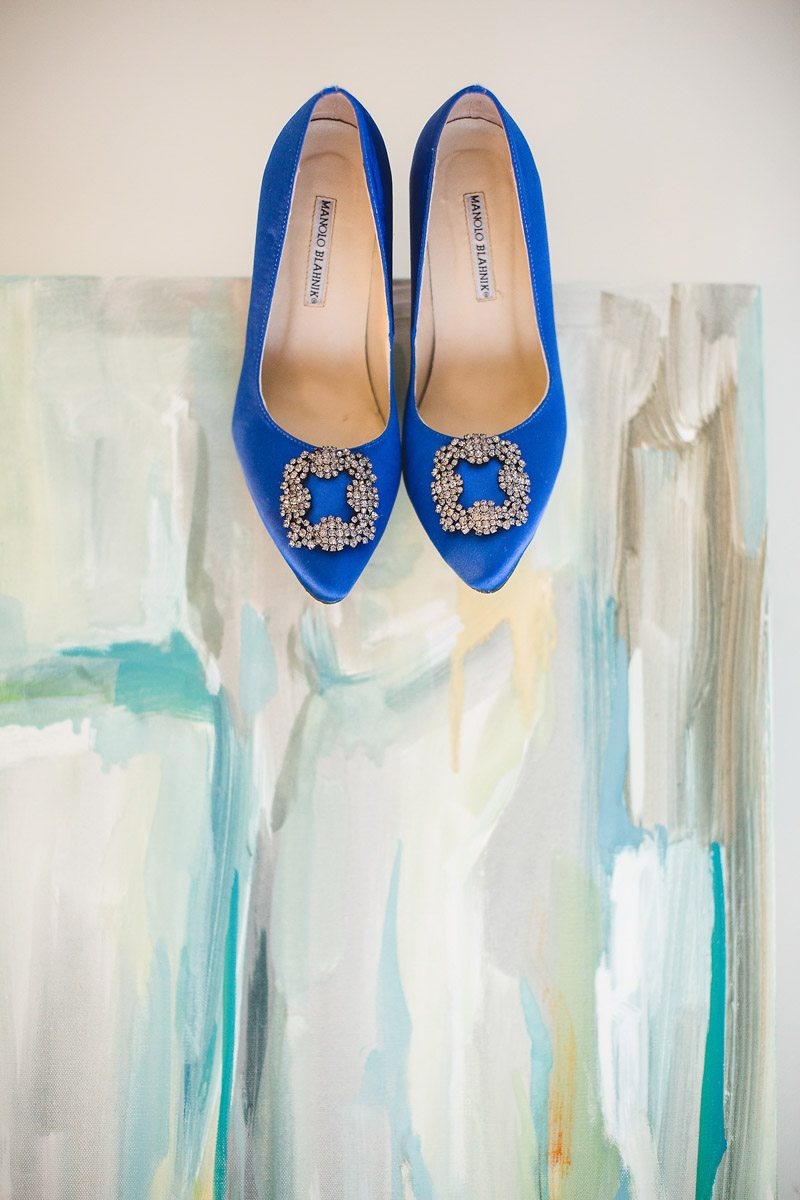 Pop of blue bride heels