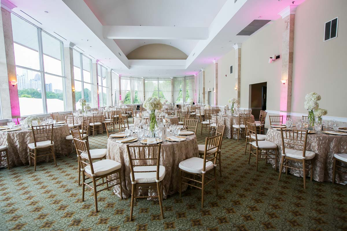 Reception Pink Lighting White Flowers