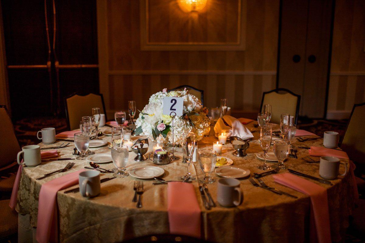 _Round reception table set up with hydrangea centerpiece Herndon_Herndon_Sharon_Theresa_Wheaton_20150627sharontheresawheaton1057