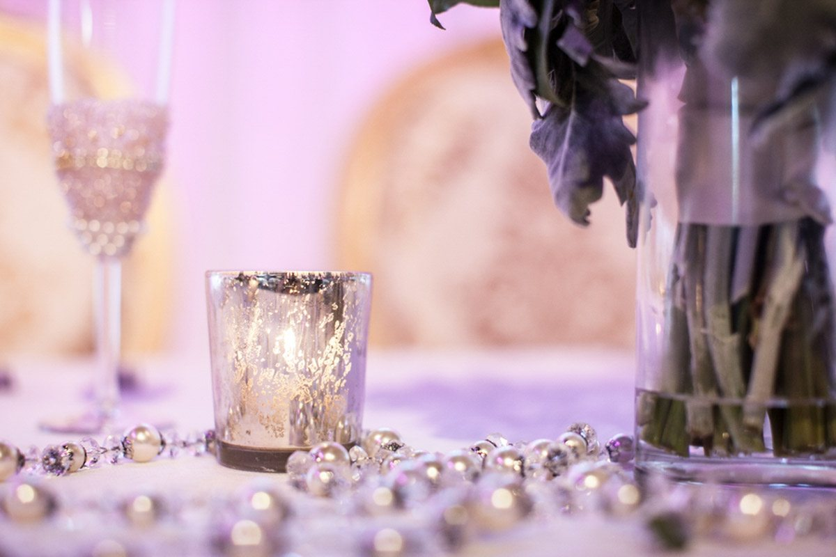 Silver Candle with Pearls