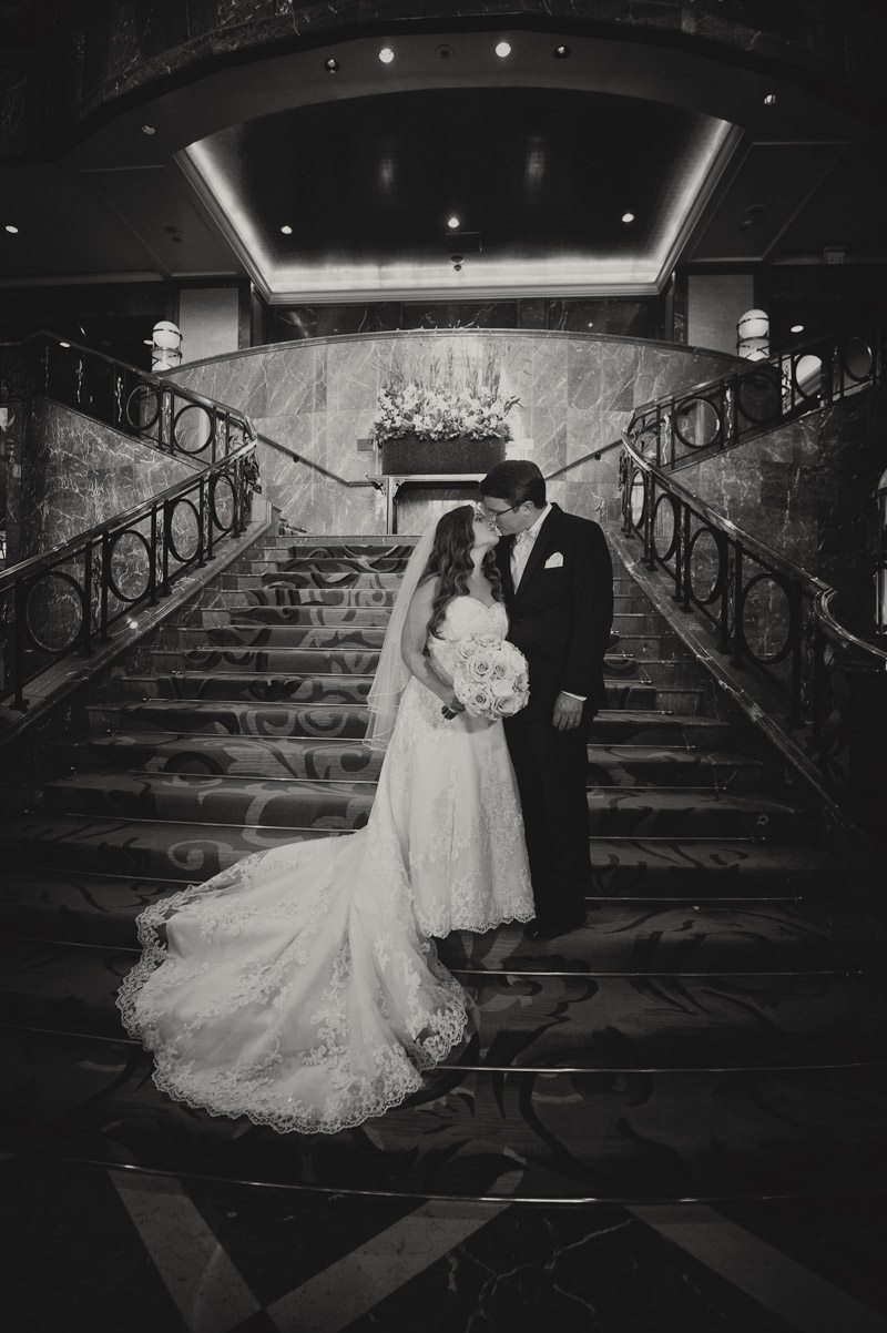 Stairs bride and groom black and white Callaway_Cook_Moreland_Photography_Cook488