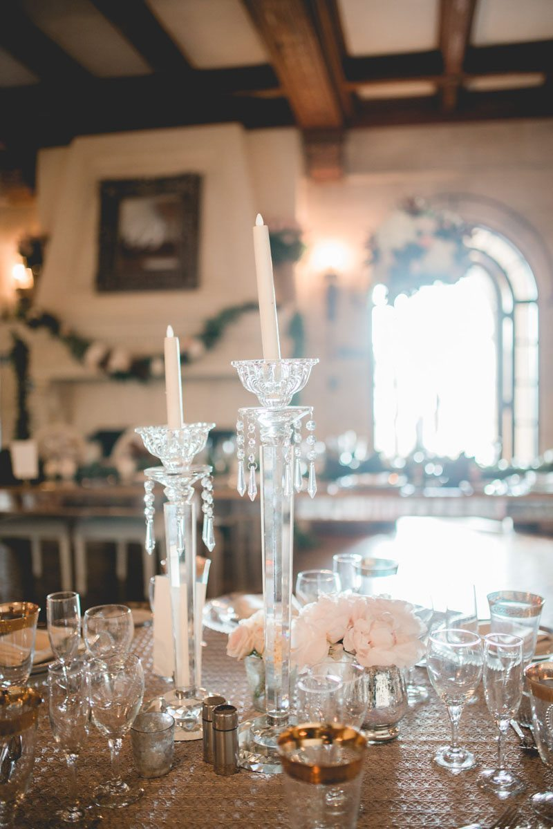Tall wax candle center piece - Tara Tomlinson Photography