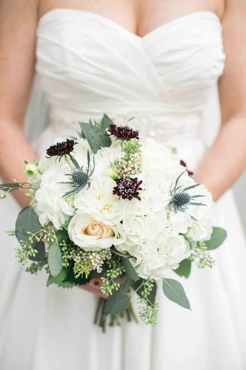 White Bridal Bouqet with Blue Thistle