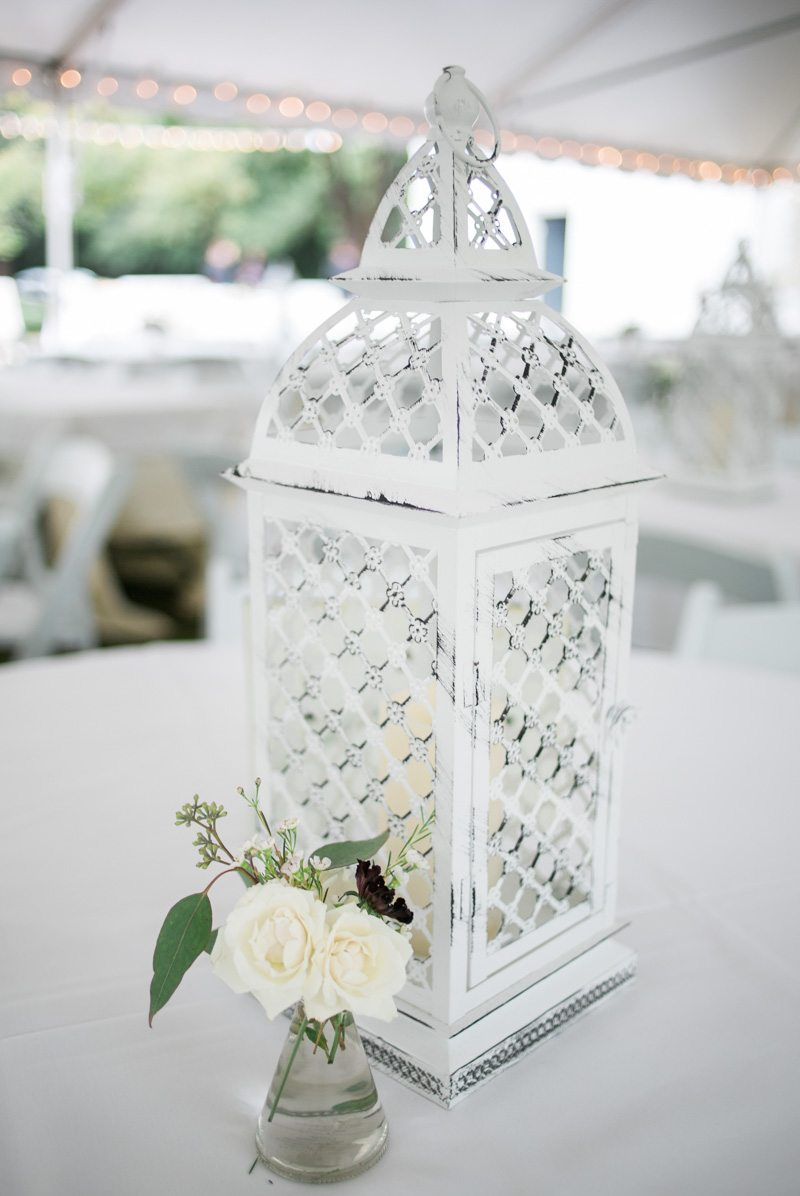 White Lantern Candle Centerpiece