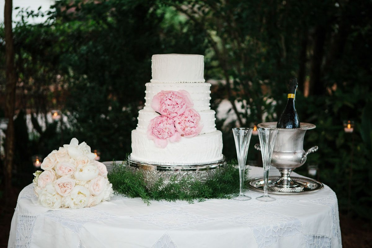 White Tiered Cake with Pink Flowers