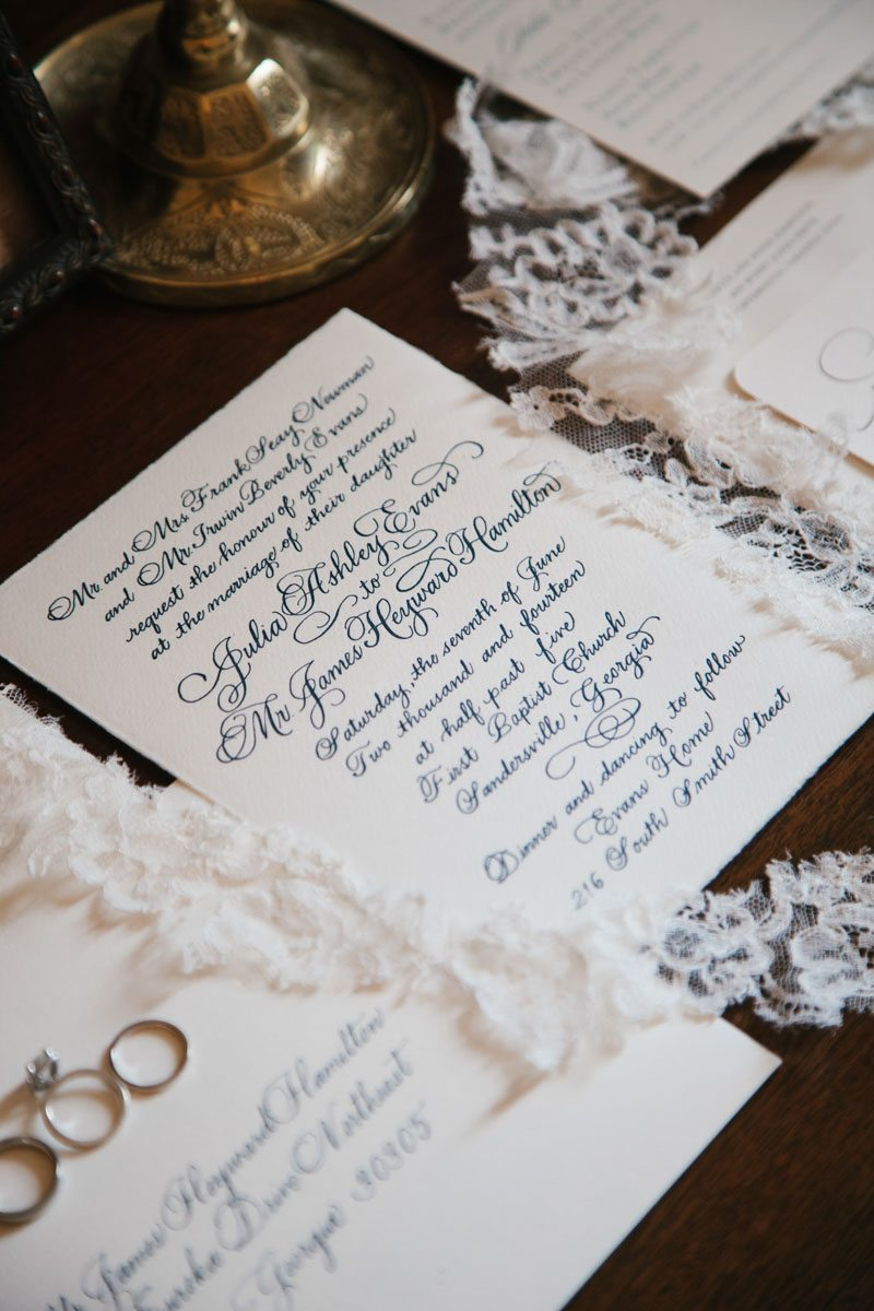 White and Navy Invitation with lace
