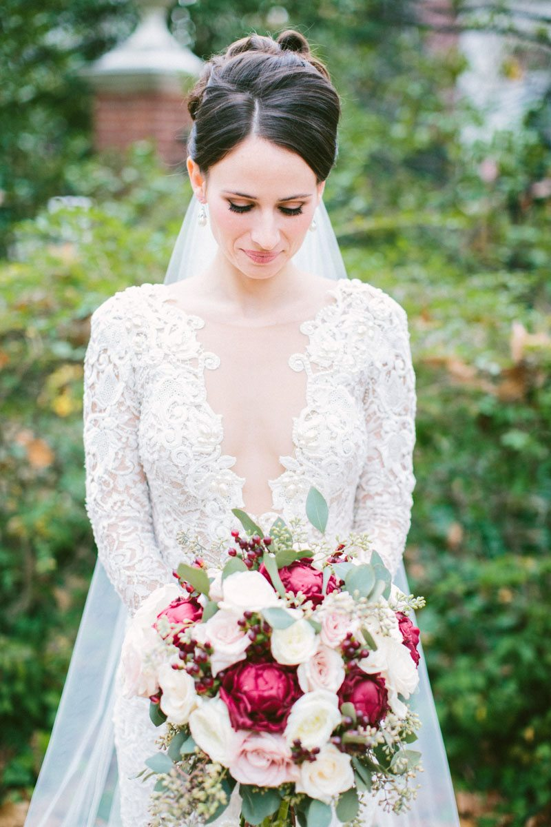 berta bridal lace wedding dress portrait