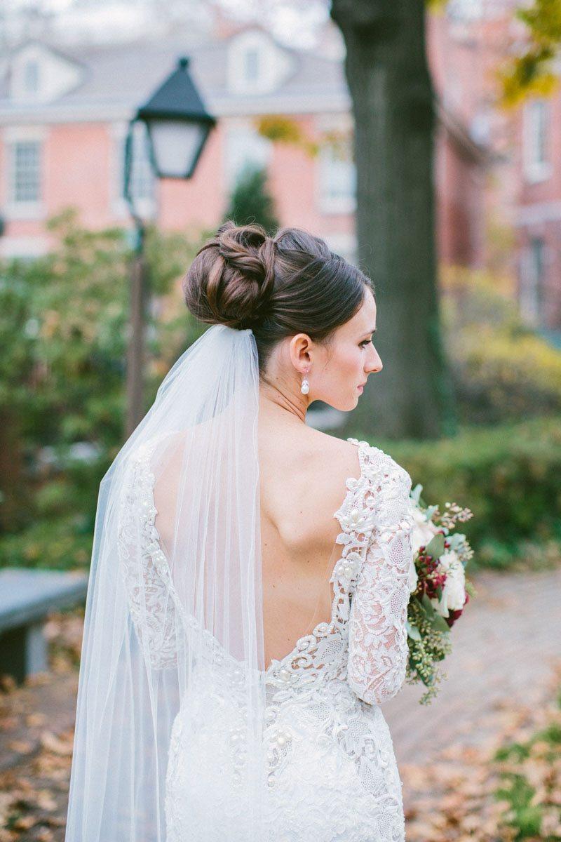 berta bridal lace wedding dress updo veil