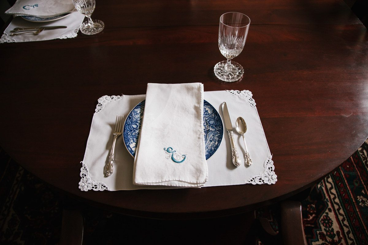 blue and white plate with napkin