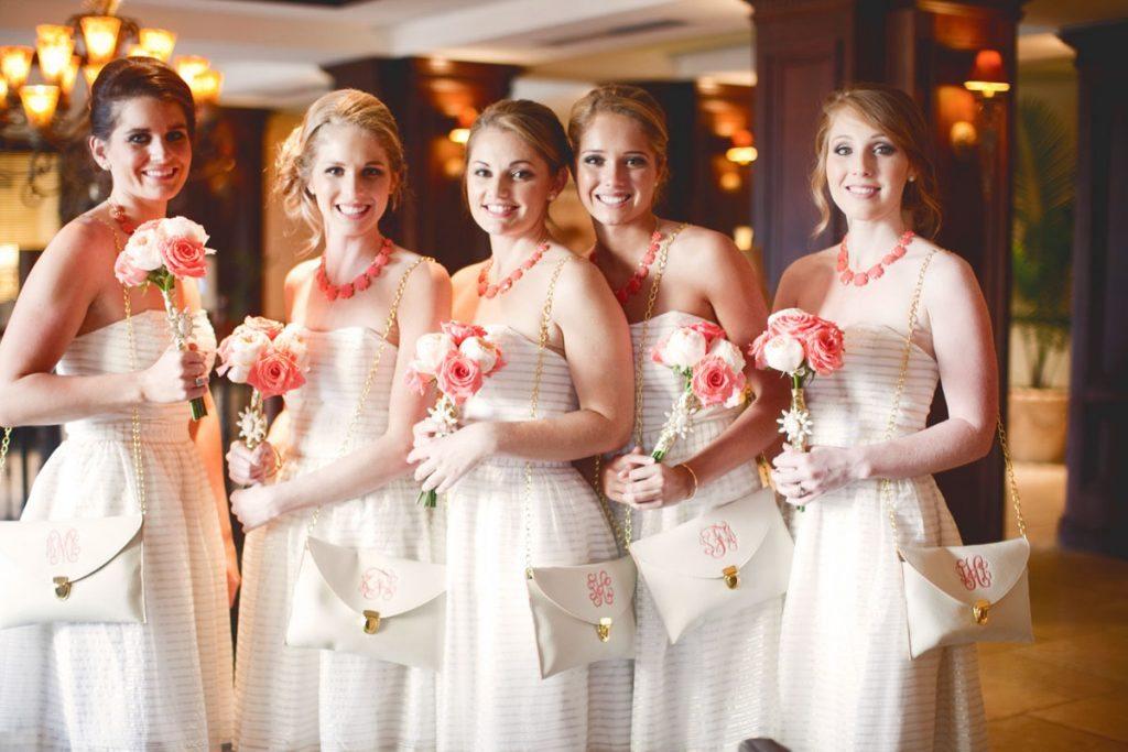 bridesmaid white coral dress