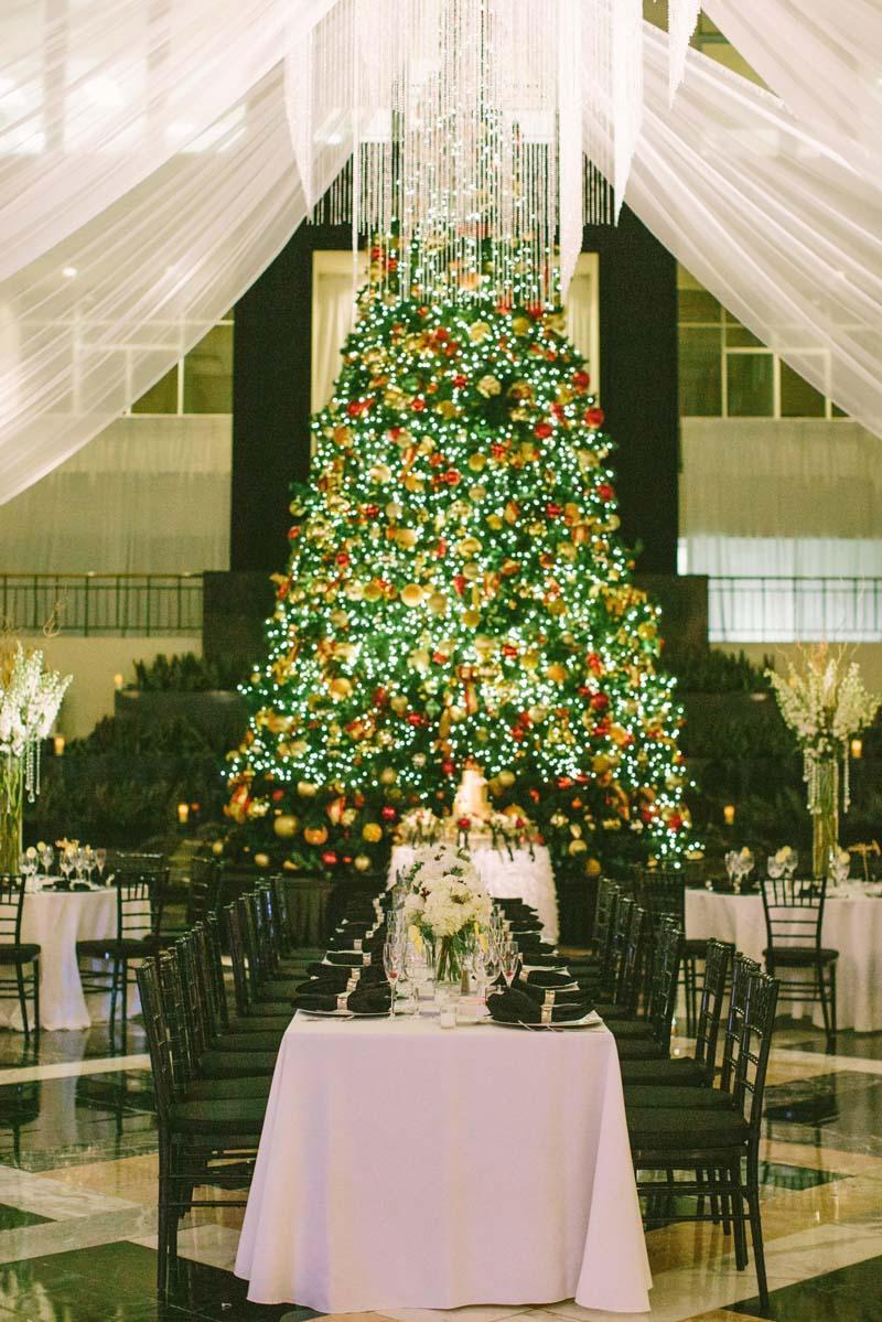 christmas tree drapery reception