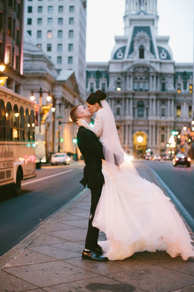 city bride and groom