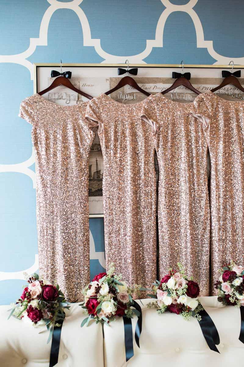 gold glitter bridesmaid dress